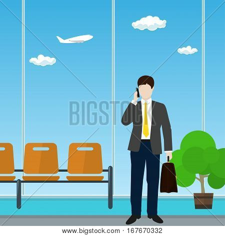 Man with a Briefcase Talking on the Phone in a Waiting Room, Waiting Hall with Businessman ,Travel and Tourism Concept, Flat Design