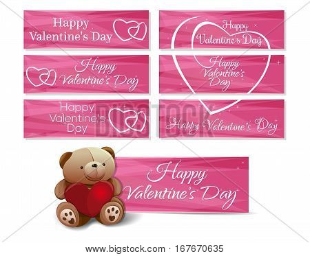 Banners set for Valentine's Day. Cute teddy bear, hearts, greeting inscription on a pink background. Romantic collection. Vector illustration