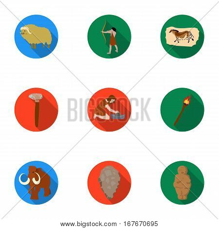 Stone age set icons in flat design. Big collection of stone age vector symbol stock illustration
