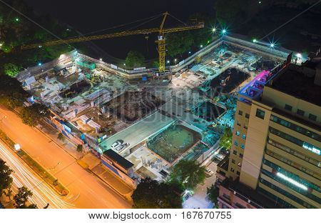 Aerial View Of Under-construction Site In Lang Ha Street, Hanoi City, Vietnam