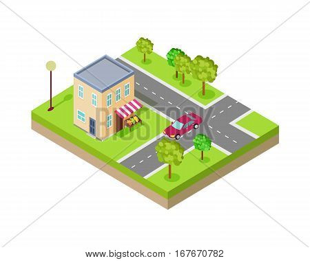 Isometric icon of two storey grocery shop near the road. Building house architecture, street of urban town, map and construction, residential office or home. Vector illustration in flat style design.