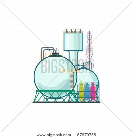 Industrial Plant Isolated on White Background, Refinery Processing of Natural Resources, Industrial Pipes and Tanks, Chemical Industry