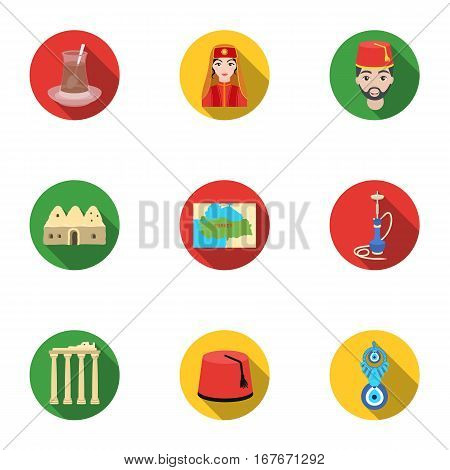 Turkey set icons in flat style. Big collection of Turkey vector symbol stock