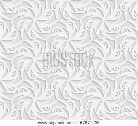 Seamless 3D white patternindian ornament persian motif vector. Endless texture can be used for wallpaper pattern fills web page background surface textures.