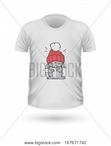 T-shirt front view with animals isolated on white. Realistic t-shirt vector in flat. Cartoon character rabbit in winter cloth. Casual wear. Cotton unisex polo outfit. Fashionable apparel