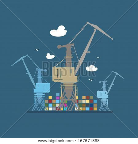 Cargo Cranes and Containers, Crane at the Port at Sea ,Containers and Cranes at the Dock, International Freight Transportation