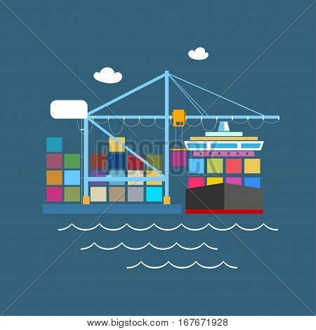 Cargo Container Ship at the Dock at Sea, Unloading Containers from a Cargo Ship in a Seaport with Cargo Crane, International Freight Transportation
