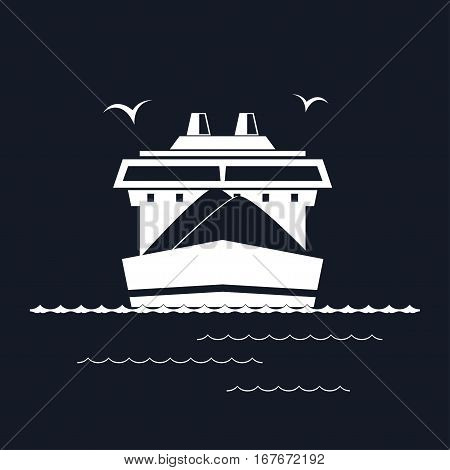 Front View of the Dry Cargo Ship Isolated on Black Background, Industrial Marine Vessel is Transporting Coal and Ore ,International Freight Transportation