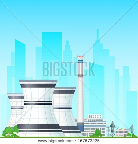 Nuclear Power Plant on the Background of the City, Thermal Power Station, Nuclear Reactor and Power Lines ,Nuclear Station Supplies Electricity to the City