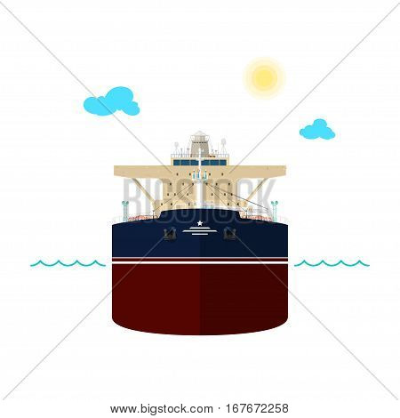 Front View of the Vessel, Oil Tanker on White Background ,International Freight Transportation, Vessel for the Transportation of Goods
