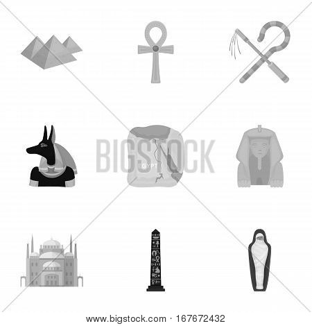 Ancient Egypt set icons in monochrome style. Big collection of ancient Egypt vector symbol stock