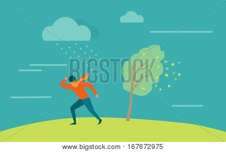 Strong wind and heavy rainstorm. Heavy shower, downpour, cloudburst. Natural disaster. Deadly wind ruins everything. Hurricane damages person. Moderate or violent rain. Vector illustration