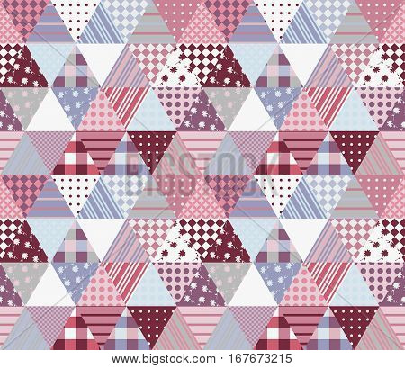 Cute Seamless Patchwork Pattern. Vector Illustration Of Quilt Design.
