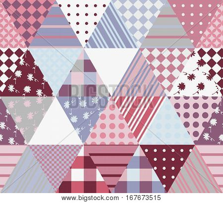 Multicolor Patchwork Pattern. Seamless Vector Illustration Of Quilt.
