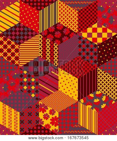 Patchwork in warm colors. Ethnic boho seamless pattern. Geometric tribal ornament. Vector illustration.
