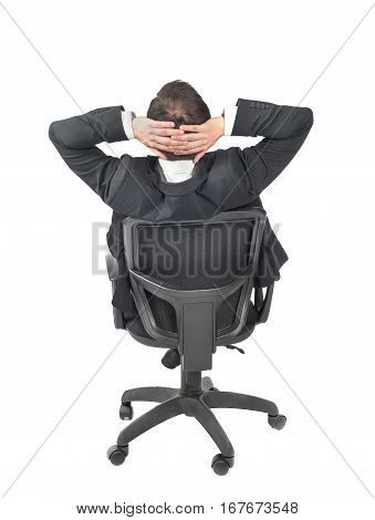 Man in suit sit in a chair isolated on a white background