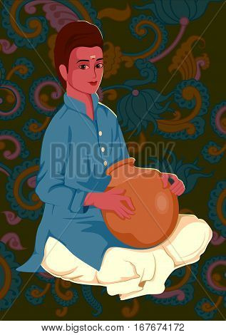 Vector design of artist playing Ghatam folk music of India on floral background