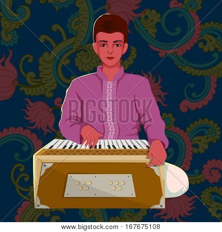 Vector design of artist playing Harmonium folk music of India on floral background