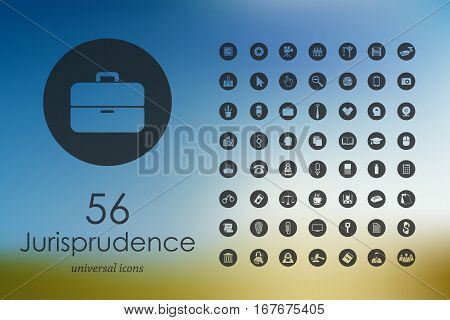 jurisprudence modern icons for mobile interface on blurred background