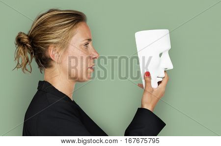 Caucasian woman Frowning Mask Concept