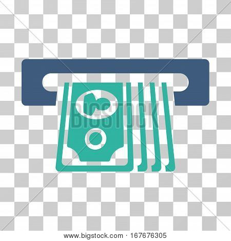 ATM Insert Cash icon. Vector illustration style is flat iconic bicolor symbol cobalt and cyan colors transparent background. Designed for web and software interfaces.