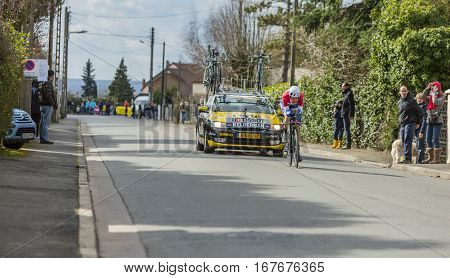 Conflans-Sainte-HonorineFrance-March 62016: The Dutch cyclist Wilco Kelderman of Lotto NL-Jumbo Team riding during the prologue stage of Paris-Nice 2016.