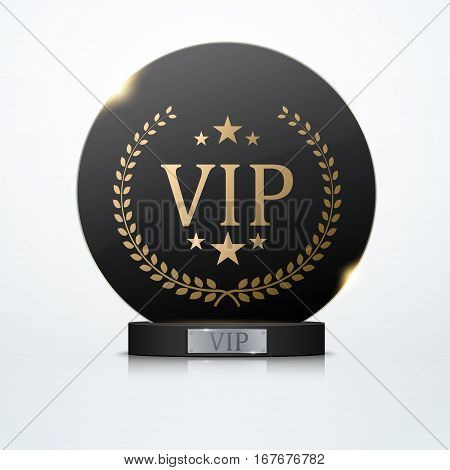 Vip invitation with black award trophy, vector illustration