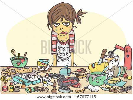 Angry, stressed woman making a cake at the messy table full with pastries items and ingredients