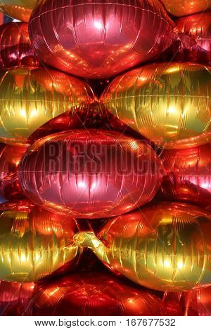 Gold and Red Mylar Balloons