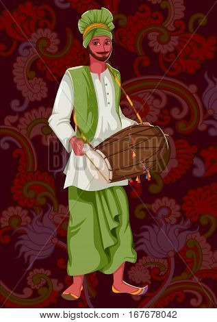 Vector design of artist playing Dhol folk music of Punjab India on floral background