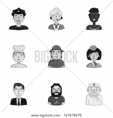 People of different profession set icons in monochrome design. Big collection of people of different profession vector symbol stock illustration