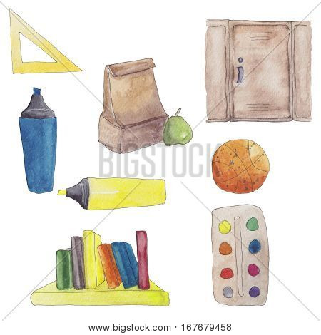 Back to school. Watercolor set of school supplies. Books, basketball ball, lunch bag, permanent marker, ruler.