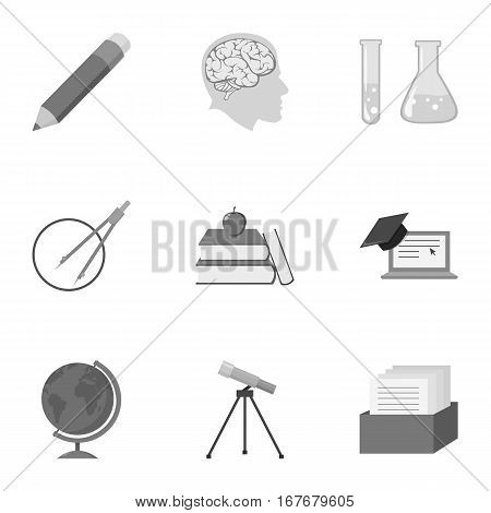 School set icons in monochrome style. Big collection of school vector symbol stock