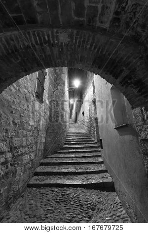 Girona (Gerona Catalunya Spain): old typical street by night. Black and white