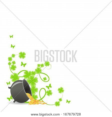 St. Patricks template corner with green shamrock vignette and pot of gold.