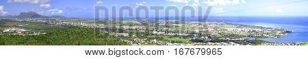 Full panoramic bird's eye view of Port-Louis capital city of Mauritius