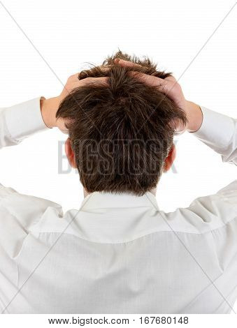 Rear View of the Stressed Man Isolated on the White Background