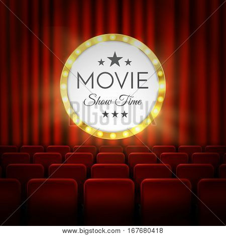 Movie cinema premiere poster design. Vector template banner