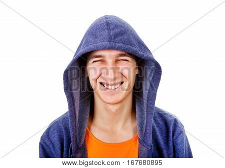 Cheerful Young Man in the Hood Isolated on the White Background
