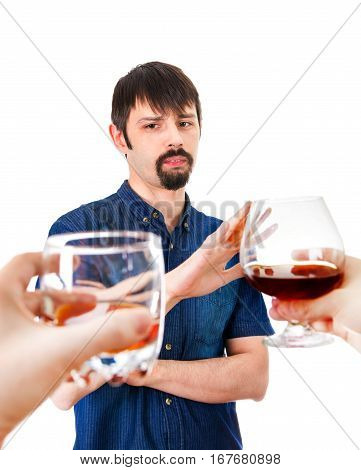Man refuse Alcohol Isolated on the White Background