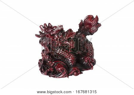 Brown Dragon Isolated On White Background.