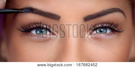 Eyes, close up of beautiful woman with makeup eyes