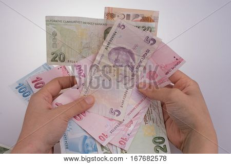 Hand Holding Turksh Lira Banknotes  In Hand