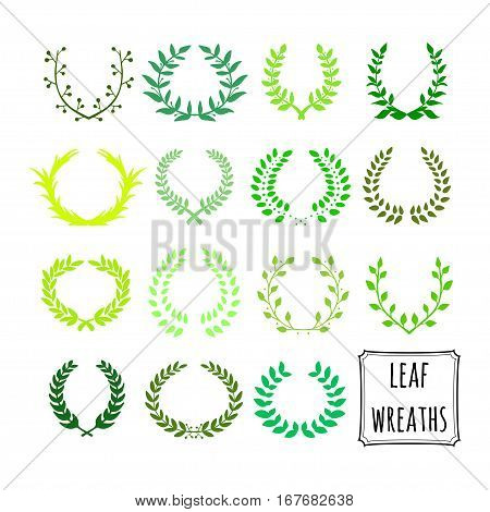 Hand drawn decorative floral set of 15 wreaths made in vector. Unique collection of green wreaths and branches.