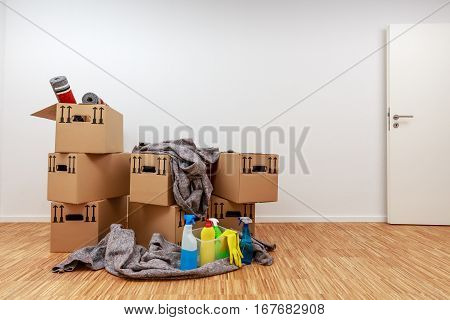 Apartment After Moving In With Fully Packed Moving Boxes