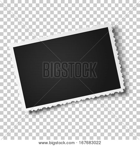 Retro realistic vector photo frame with figured edges placed horizontally slightly tilted on transparent background. Template photo design.