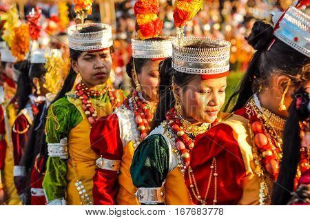 Girls In Beautiful Dress In Meghalaya
