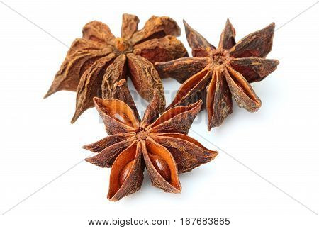 Star anise isolated closeup on white background.