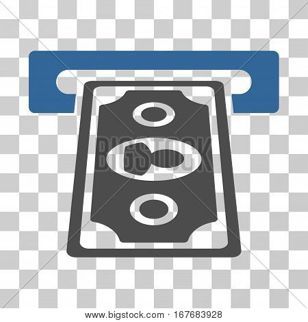 Cashpoint Terminal icon. Vector illustration style is flat iconic bicolor symbol cobalt and gray colors transparent background. Designed for web and software interfaces.