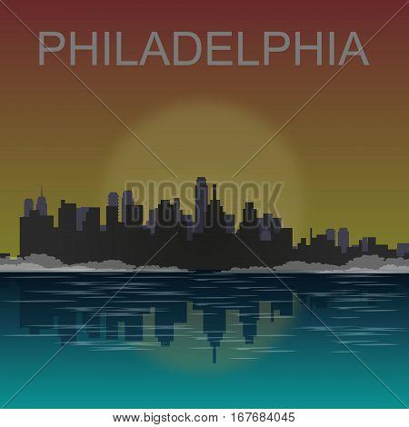 Philadelphia city skyline detailed silhouette. Vector illustration.